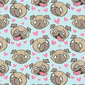 Small Fawn Pugs and Hearts blue