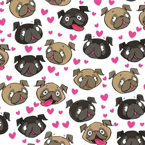 Fawn and Black Pug Love Hearts white