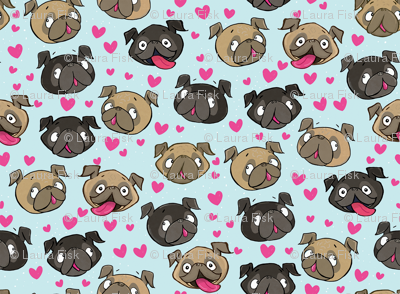 Fawn and Black Pug Love Hearts Blue