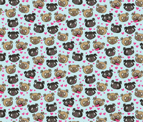 Fawn and Black Pug Love Hearts Blue fabric by laurafisk on Spoonflower - custom fabric