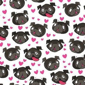 black pugs and hearts love  white