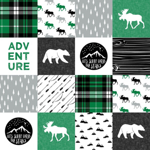 Happy Camper || Wholecloth Quilt Top - green and black