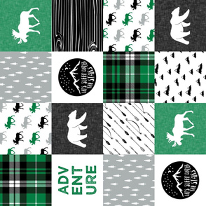 Happy Camper || Wholecloth Quilt Top - green and black (90)