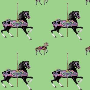 Carousel_Horse_b_w-green