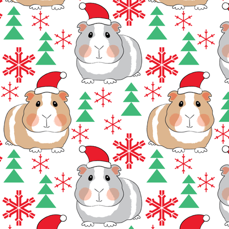 guinea-pigs-with-santa-hats fabric by lilcubby on Spoonflower - custom fabric