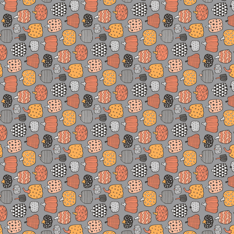 Geometric Pumpkin Fall Halloween in Black&White Orange on Grey Tiny Small Rotated fabric by caja_design on Spoonflower - custom fabric