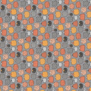 Geometric Pumpkin Fall Halloween in Black&White Orange on Grey Tiny Small Rotated