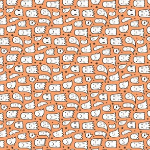 Ghosts and Stars Halloween on Orange Tiny Small Rotated