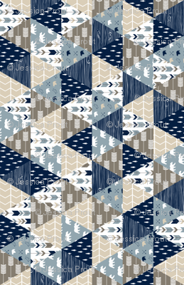 Rustic Woods Triangle Patchwork (90) - woodland fabric