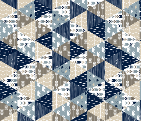 Rustic Woods Triangle Patchwork (90) - woodland fabric fabric by littlearrowdesign on Spoonflower - custom fabric