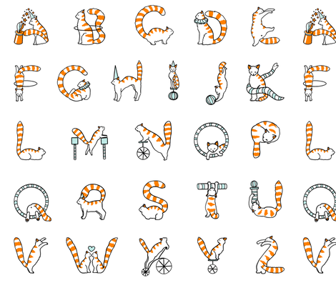 Cat circus alphabet large fabric by elena_naylor on Spoonflower - custom fabric