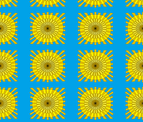 Yellow Sun on Blue Sky fabric by palusalu on Spoonflower - custom fabric