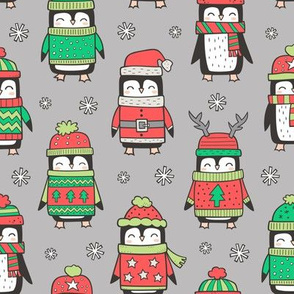Christmas Holiday Winter Penguins in Ugly Sweaters Scarves & Hats On Grey