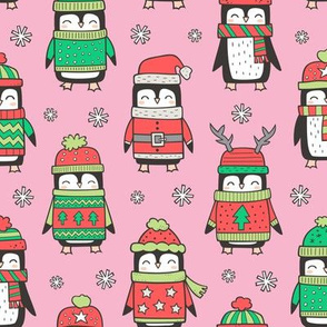 Christmas Holiday Winter Penguins in Ugly Sweaters Scarves & Hats On Pink