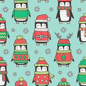 Christmas Holiday Winter Penguins in Ugly Sweaters Scarves & Hats On Mint Green