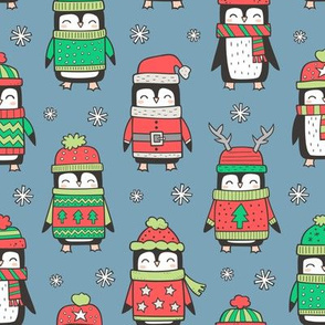 Christmas Holiday Winter Penguins in Ugly Sweaters Scarves & Hats On Dark Blue Navy