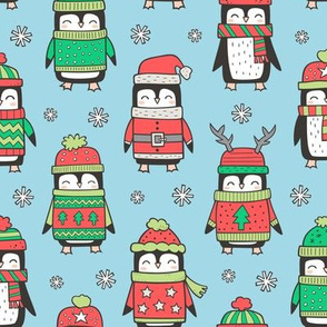 Christmas Holiday Winter Penguins in Ugly Sweaters Scarves & Hats On Blue