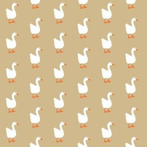 Little White Goose on Taupe Background