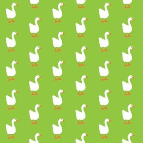 Little White Goose on Lime Background