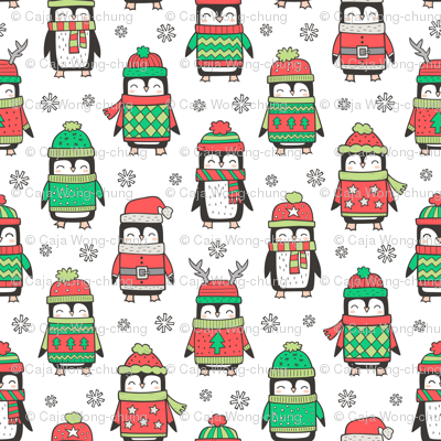 3c68af71373 Christmas Holiday Winter Penguins in Ugly Sweaters Scarves   Hats On White