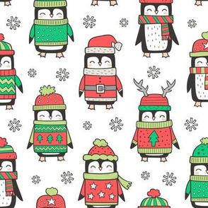 Christmas Holiday Winter Penguins in Ugly Sweaters Scarves & Hats On White