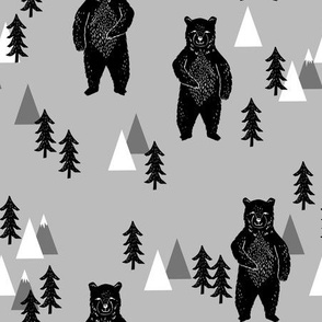 forest bear // camping bear trees forest woodland bears black and white and grey