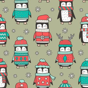 Christmas Holiday Winter Penguins in Ugly Sweaters Scarves & Hats Mint Green Red On Olive Green