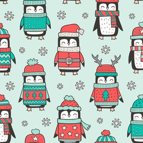 Christmas Holiday Winter Penguins in Ugly Sweaters Scarves & Hats Mint Green Red On Mint Green
