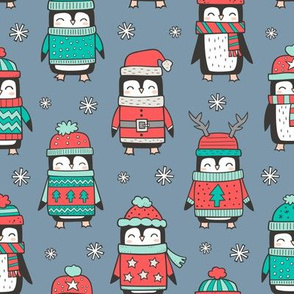 Christmas Holiday Winter Penguins in Ugly Sweaters Scarves & Hats Mint Green Red On Dark Blue Navy