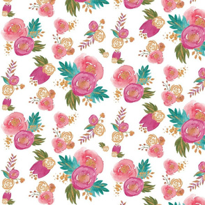 Gold, Teal and Pink Floral SMALL