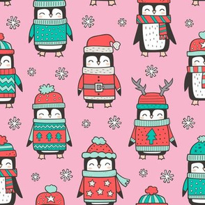 Christmas Holiday Winter Penguins in Ugly Sweaters Scarves & Hats Mint Green Red On Pink