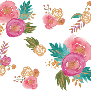 Gold, Teal and Pink Floral