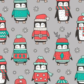 Christmas Holiday Winter Penguins in Ugly Sweaters Scarves & Hats Mint Green Red On Grey