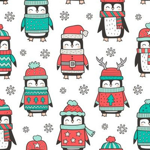 Christmas Holiday Winter Penguins in Ugly Sweaters Scarves & Hats Mint Green Red On White