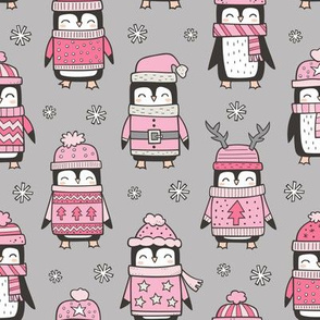 Christmas Holiday Winter Penguins in Ugly Sweaters Scarves & Hats Pink On Grey