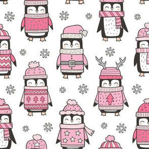 Christmas Holiday Winter Penguins in Ugly Sweaters Scarves & Hats Pink On White