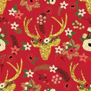 Christmas Deer Red Floral