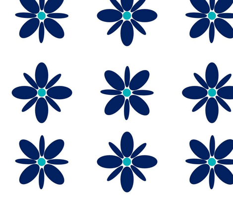 Bold Flower Power Blue fabric by peonypower on Spoonflower - custom fabric