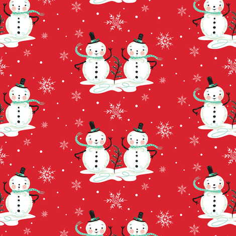 Snowman_Couple_on_Red fabric by johannaparkerdesign on Spoonflower - custom fabric