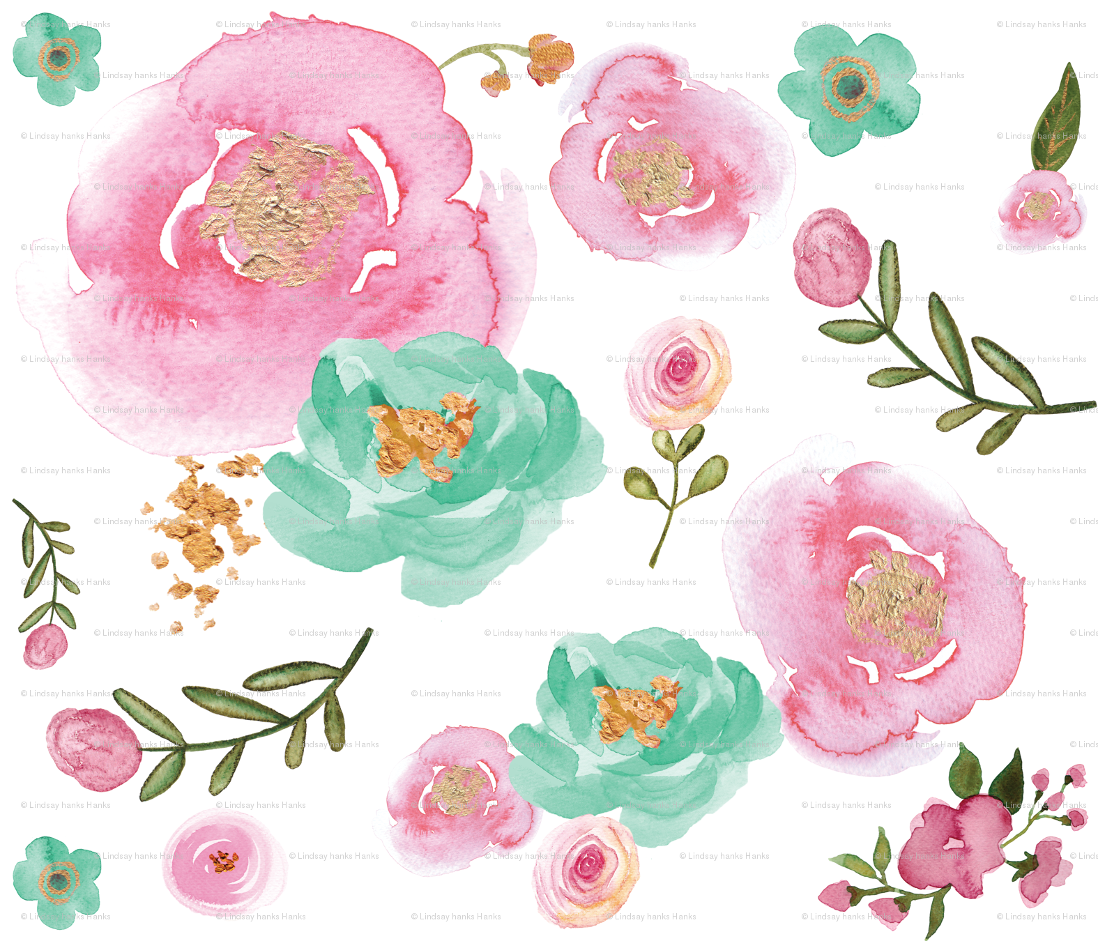 Watercolor pink mint and gold floral fabric twodreamsshop watercolor pink mint and gold floral fabric twodreamsshop spoonflower mightylinksfo