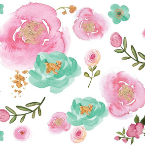 Watercolor Pink, Mint and Gold Floral
