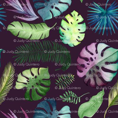 "8"" Tropical Leaves - Plum"