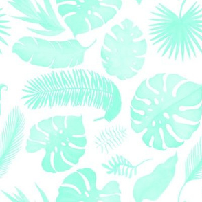 "8"" Tropical Leaves - Silhouette Aqua"
