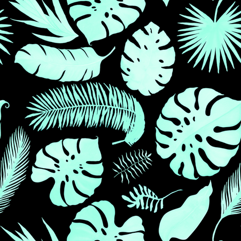 "8"" Tropical Leaves - Silhouette Aqua & Black fabric by rebelmod on Spoonflower - custom fabric"