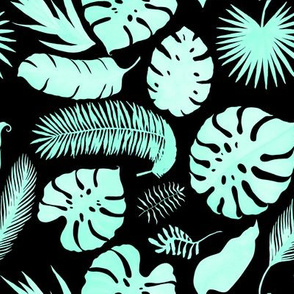 "8"" Tropical Leaves - Silhouette Aqua & Black"