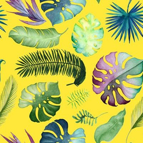 """8"""" Tropical Leaves - Yellow"""