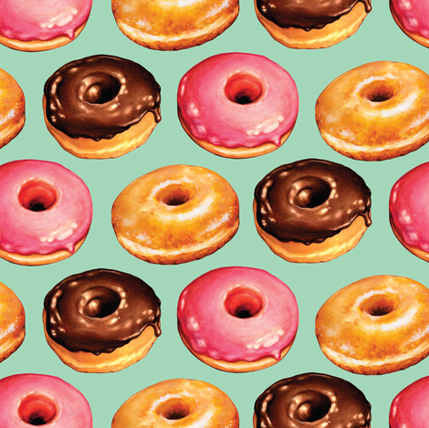 Donuts - Teal fabric by kellygilleran on Spoonflower - custom fabric