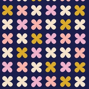 Hydrangea* (Pinks on Jackie Blue) || flower flowers cross plus sign pastel x organic abstract pixel stripe check cross stitch needlework embroidery nature mustard gold