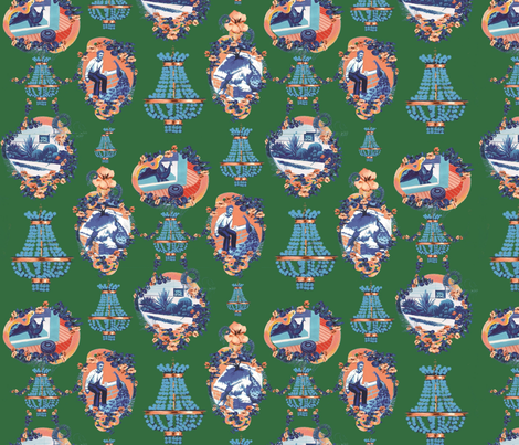 Peacocks of Vista Toile  fabric by mrsbritz on Spoonflower - custom fabric