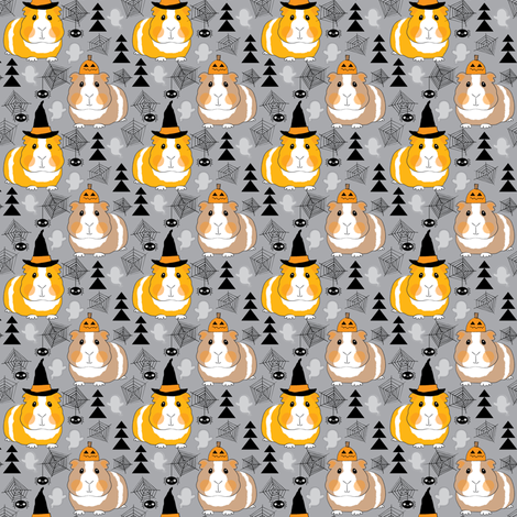 tiny halloween guinea-pigs-on grey fabric by lilcubby on Spoonflower - custom fabric